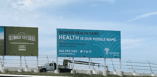 "Photo of Genesis Health Care's ""Health is Our Middle Name"" Billboard in Darlington SC"